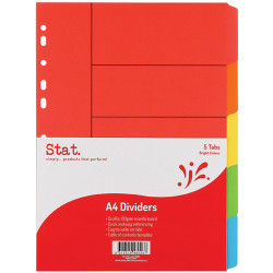 Stat Manilla Divider A4 5 Tab Bright Colours