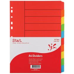 Stat Manilla Divider A4 10 Tab Bright Colours