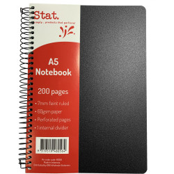 Stat Notebook A5 8mm Ruled 60gsm 200 Pages Poly Cover Black