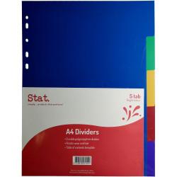 Stat Plastic Divider A4 5 Tab Multi Colour