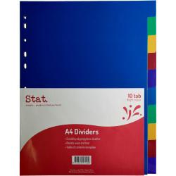 Stat Plastic Divider A4 10 Tab Multi Colour