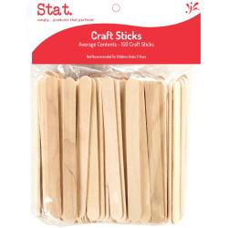 Stat Pop sticks Wooden Plain Brown Pack of 150
