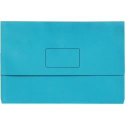 Marbig Slimpick Document Wallet Foolscap Manilla 30mm Gusset Light Blue Pack Of 10
