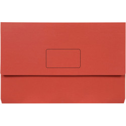 Marbig Slimpick Document Wallet Foolscap Manilla 30mm Gusset Red Pack Of 10