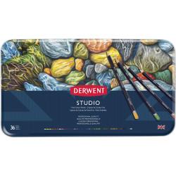 Derwent R32198 Studio 36 Pencils Assorted Tin Pack Of 36