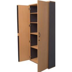 Rapid Worker Full Door Stationery Cupboard 1800Hx900W x450D Beech and Ironstone