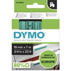 Dymo D1 Label Cassette Tape 19mmx7m Black on Green