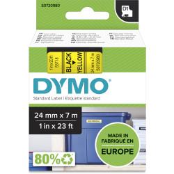 Dymo D1 Label Cassette Tape 24mmx7m Black on Yellow