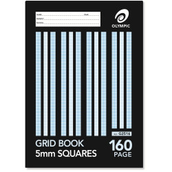 OLYMPIC GRID EXERCISE BOOK 225mm x 175mm 5mm 160 Page