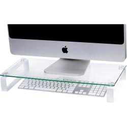Esselte Glass Monitor Stand 600mmW  White Legs