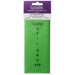 Crystalfile Indicator Tab Inserts A-Z Green Pack Of 60