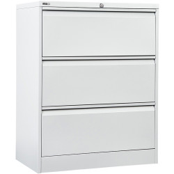 Go Steel Lateral Filing Cabinet 3 Drawer 1016Hx900Wx470mmD White