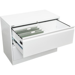 Go Steel Lateral Filing Cabinet 2 Drawer  705Hx900Wx470mmD White