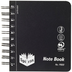Spirax Notebook Plastic P800 120mm x 140mm 400 Page Black Side Opening